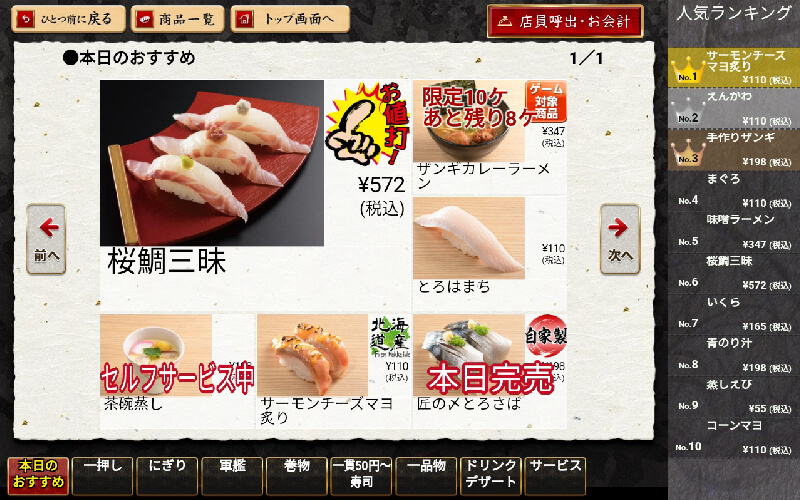 寿司店のメニュー配置:一例