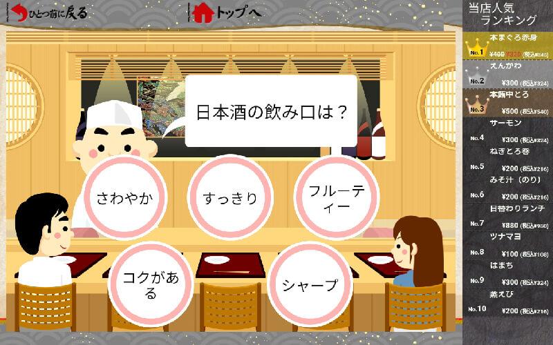 寿司店のコミュニケーション:一例